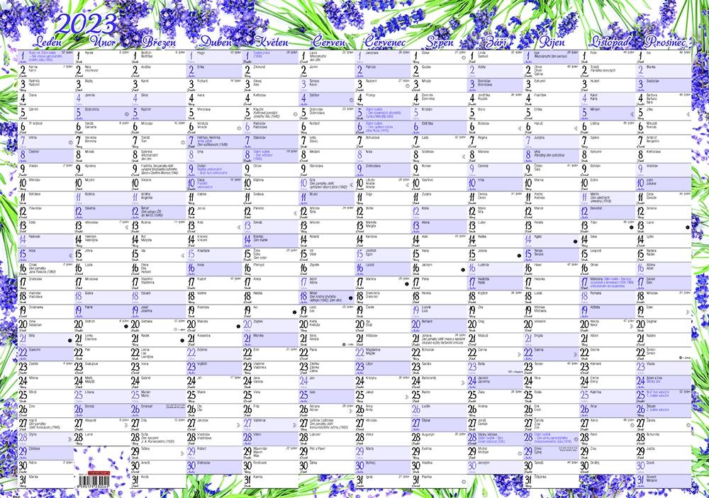 Kalendář nástěnný jednolistový roční - Levandule